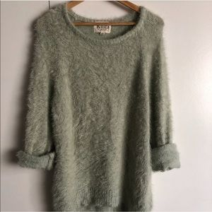 For Love and Lemons knitz eyelash sage sweater